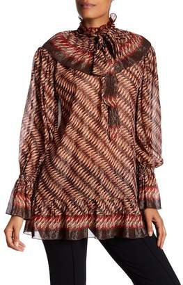 Anna Sui Silk Border Metallic Ruffle Blouse