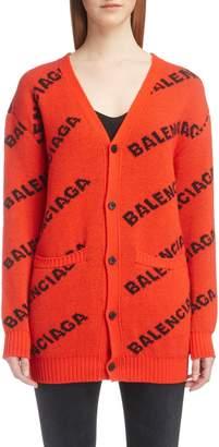Balenciaga Jacquard Logo Wool Blend Cardigan
