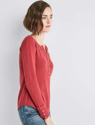Lucky Brand EMB TRIM HENLEY THERMAL