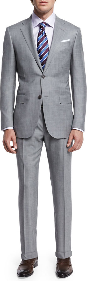 Ermenegildo Zegna Sharkskin Two-Piece Trofeo® Wool Suit, Light Gray 2