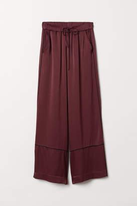 H&M Wide-leg Viscose Pants - Red