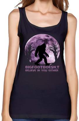RHUET LNVDIR Funny Sasquatch Bigfoot Doesn't Believe In You Either Fit Relaxed Tank Top Athletic Workout Women's Tank Tops Cotton