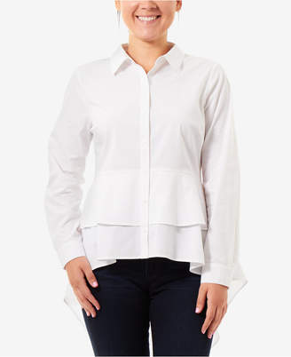 NY Collection High-Low Peplum Blouse