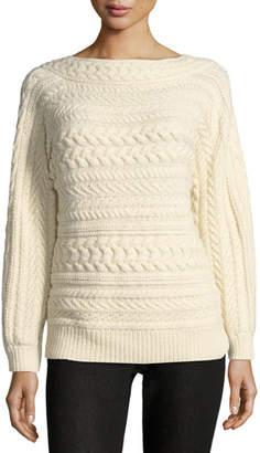 Ralph Lauren Cable-Knit Dolman-Sleeve Cashmere Sweater