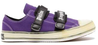 Palm Angels Logo Strap Canvas Trainers - Mens - Purple
