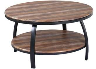 """Emerald Home Carson Natural Wood and Soft Black 35"""" Coffee Table with Round Table Top, Metal Legs, And Open Shelving"""