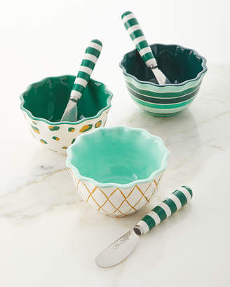 Coton Colors Emerald Series Ruffle Appetizer Bowls with Spreaders Set