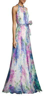 Carmen Marc Valvo Floral-Print Silk Organza Halter Gown $1,295 thestylecure.com