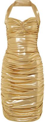 Norma Kamali Bill Ruched Stretch-lame Mini Dress