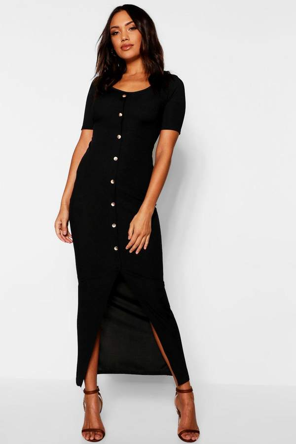 Horn Button Ribbed Half Sleeve Maxi Dress