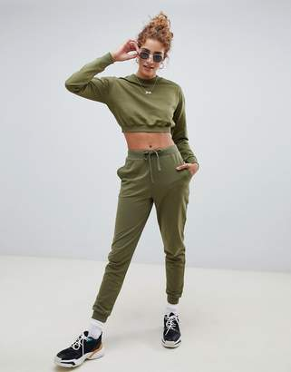 Asos DESIGN tracksuit cropped sweatshirt / basic jogger with tie