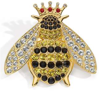 Halcyon Days Yellow Gold-Plated and Pave Queen Bee Brooch