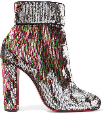 Christian Louboutin - Moulamax 100 Sequined Leather Ankle Boots - Metallic