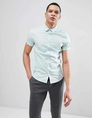 Asos Design Skinny Shirt In Light Green With Short Sleeves