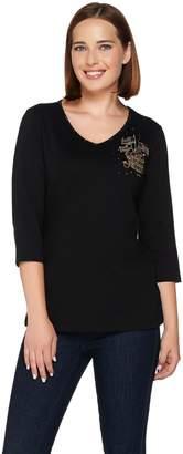 Factory Quacker Fall Brooch Embellished 3/4 Sleeve T-shirt