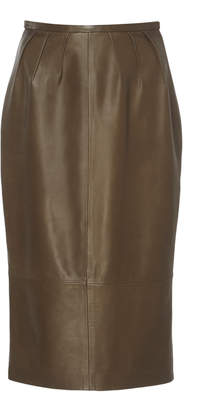Rochas Pleated Leather Pencil Skirt Size: 38