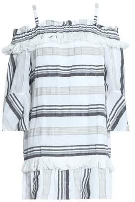 Rachel Zoe Cold-Shoulder Striped Cotton Linen And Ramie-Blend Mini Dress