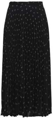 Vince Pleated Floral-Print Crepe Midi Skirt