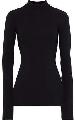 SOLACE London Odette Ribbed Stretch-Knit Turtleneck Top