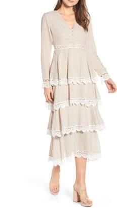 Endless Rose Tiered Dobby Midi Dress