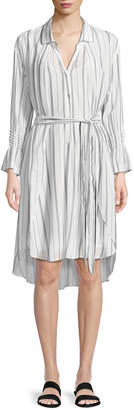 Halston Striped Long-Sleeve Shirtdress