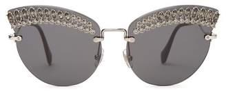 Miu Miu Round Cat Eye Embellished Sunglasses - Womens - Black Multi