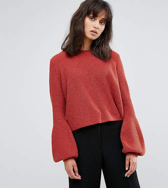 Weekday Crop Knit Sweater with Balloon Sleeve