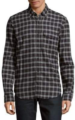 Belstaff Windowpane Cotton Casual Button-Down Shirt