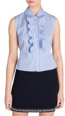 Miu Miu Ruffled Button-Down Sleeveless Shirt