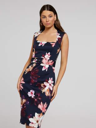 Portmans Australia Jewel Floral Belted Pencil Dress