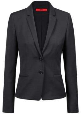 HUGO Boss Regular-fit jacket in a micro-pattern wool 6 Black