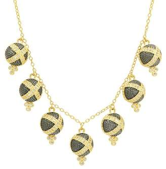 Freida Rothman 14K Yellow Gold & Black Rhodium Plated Pave CZ Bauble Charm Necklace