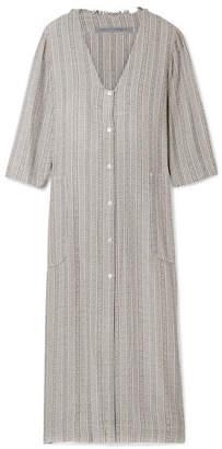 Raquel Allegra Striped Metallic Woven Dress - Gray