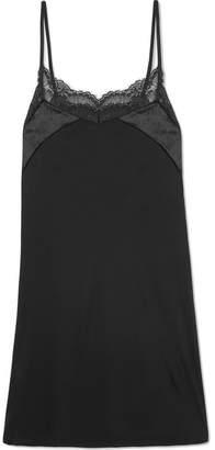 Hanro Ava Lace And Velvet-trimmed Modal And Silk-blend Chemise - Black