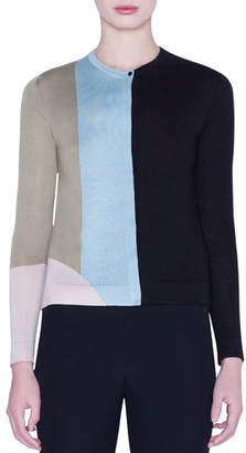 Akris Indian Summer Colorblock Cashmere-Silk Intarsia Cardigan