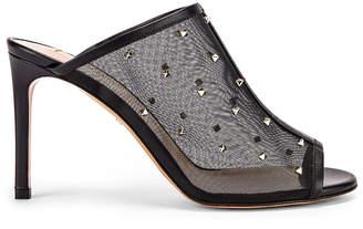 Valentino Mesh Open Toe Heels in Black | FWRD