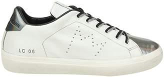 Leather Crown Sneakers In White Leather With Steel Details