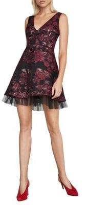 BCBGMAXAZRIA Floral Jacquard Fit-&-Flare Mini Dress