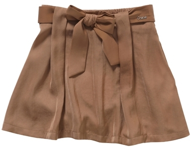 Chloé Girl's Satin Skirt with Belt Tied in Front - Caramel
