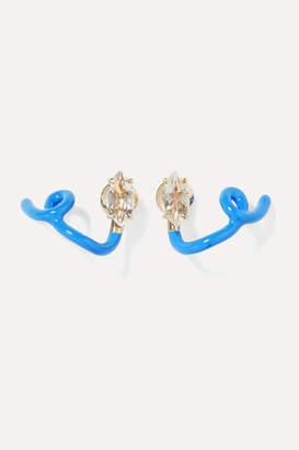 Bea Yuk Mui Bongiasca - You're So Vine 9-karat Gold, Enamel And Rock Crystal Earrings - one size