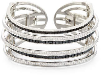 Black Diamond Nini Collection 18K White Gold & Seven-Row Cuff Bracelet
