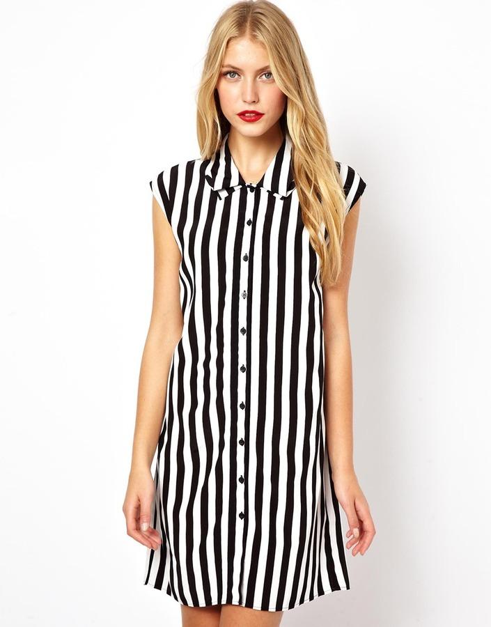 Asos Shirt Dress In Stripe With Fold Collar