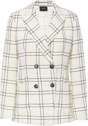 Akris Danita Double Face Wool Crepe Check Print Jacket