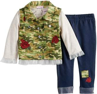 Little Lass Baby Girl Camouflage Vest, Tulle Top & Rose Jeggings Set
