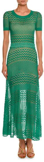 MissoniMissoni Short-Sleeve Crewneck Open-Knit Gown, Green
