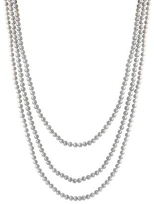 Splendid Pearls 4-6mm Gray Freshwater Endless Pearl Necklace
