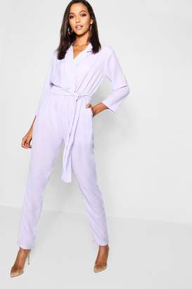 boohoo Tall Collar Wrap Jumpsuit