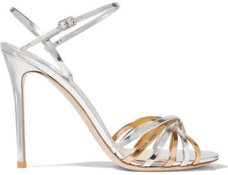 Gianvito Rossi 100 Two-tone Metallic Leather Sandals - Silver