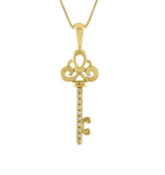 FINE JEWELRY Womens Diamond Accent 10K Gold Key Pendant Necklace