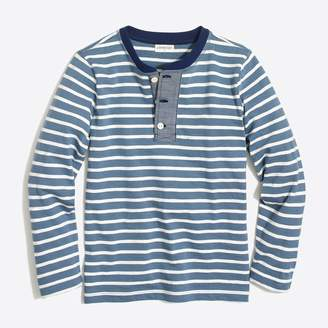 J.Crew Factory Boys' long-sleeve striped henley with chambray placket